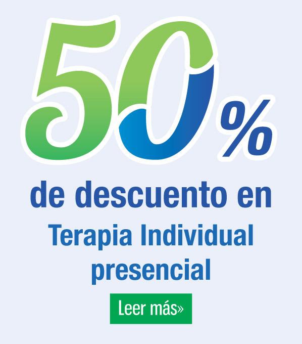 50% de descuento en terapia indidividual presencial